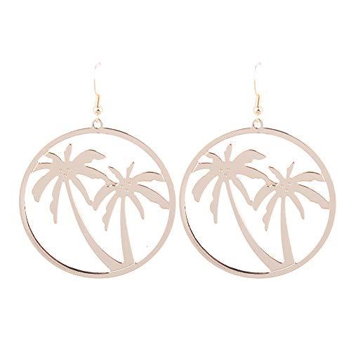 MDGWM Pendientes de aleación de árbol de Coco de Moda Exquisita, Pendientes Grandes geométricos Simples, Color sólido, Pendientes Salvajes, Oro