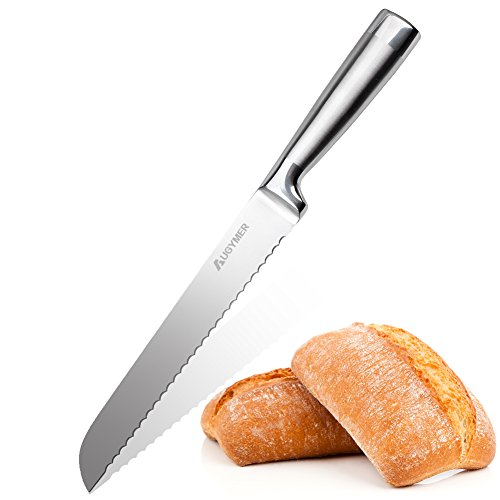 Serrated Bread Slicer Knife,Augymer Professional Stainless Steel Cake Slicing Knives