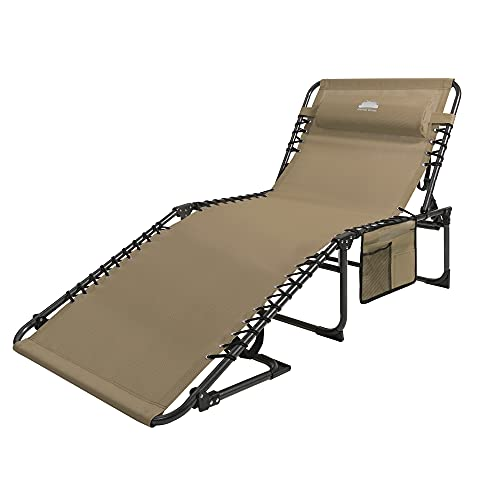 Coastrail Outdoor Folding Chaise Lounge Chair 4 Position Foldable Patio Recliner with Pillow Bonus Pockets, for Beach Layout Lawn Camping Outdoor Pool Tanning Sun Sunbathing Cot Chair, Up to 400lbs