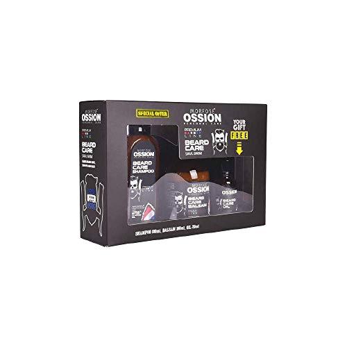 Ossion Premium Barber Line Beard Care Set 3in1 Herren Bartpflege Set (Bart Shampoo 100ml) (Bart Öl 20ml) (Bart Serum Seren 50ml) Geschenk Set Männer