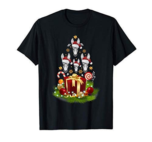 Santa Donkey Christmas Tree Funny Xmas Decor Gift for Donkey T-Shirt