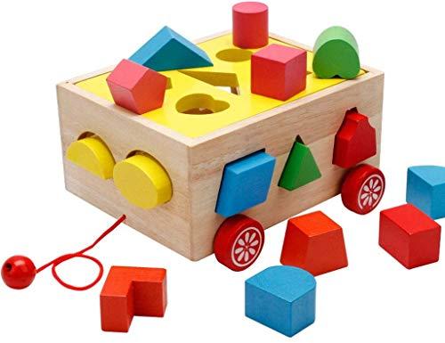 Niños Niños Clasificador forma Juguete Juguetes madera Coche, Tazas apilables Clasificador forma Montessori Juguetes para bebés Juego educativo temprano Juguete Niños pequeños Regalos cumpleaños