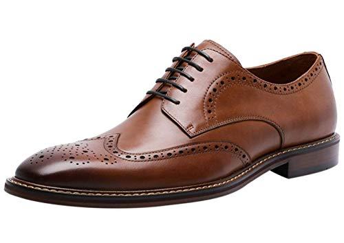Zapatos Oxford Hombre con Cordones de Cuero Clásica Brogue Casual Vestir Boda...