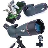 Telescopio Terrestre, Zoom de 20-75x70 mm Lente óptica Totalmente Multicapa Telescopio de Diseño de con Ocular móvil y a Prueba de Niebla con Kit de Montaje Rápido para Teléfono Inteligente y Trípode