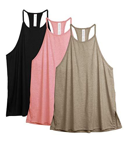 icyzone, canottiera sportiva da donna, a collo alto, per yoga, palestra, senza maniche, confezione da 3 nero/cachi, rosa. L