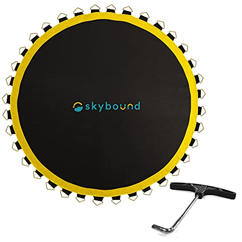 SkyBound Replacement Trampoline Mat, Fits 12ft Frames w/Spring Tool and Durable V-Rings, Bounce Safely with Extra Rows of Stitching