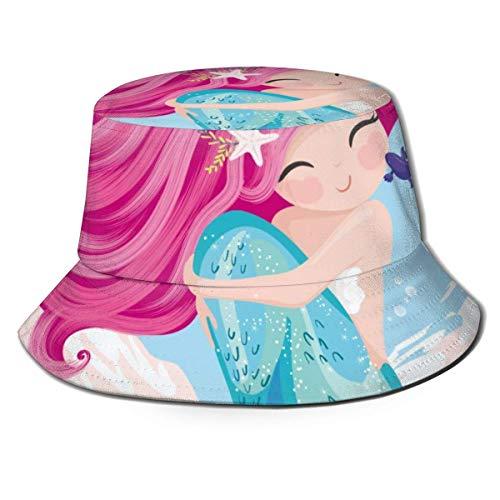 GOSMAO Sombrero de Cubo de Sirena cariñosa Unisex Sombrero de Pescador Sombrero de Sol al Aire Libre Negro