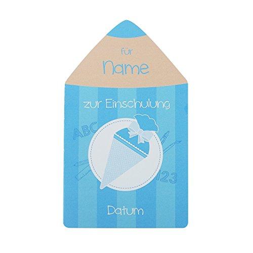Striefchen® Glückwunschkarte zur Einschulung - Buntstift - mit Namen und Datum im Cover bedruckt Blau