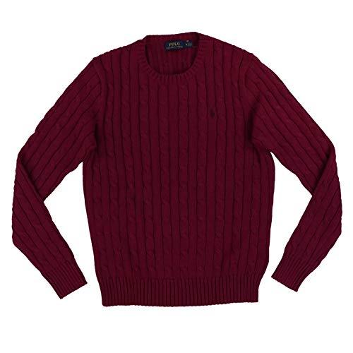Ralph Lauren Damen Pullover mit Zopfmuster, Rundhalsausschnitt, Gr. M, Rot meliert