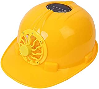 Taohou Casco de Seguridad con Ventilador 1.0 Construcción Sombreado Protección Solar Carga Solar-Amarillo