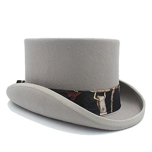 FeiNianJSh Sombrero para Mujer 4 Colores Sombrero de Copa Steampunk de Lana con patrón Negro Sombrero de Sombrerero Loco de Halloween (Color : 3, tamaño : 57cm)