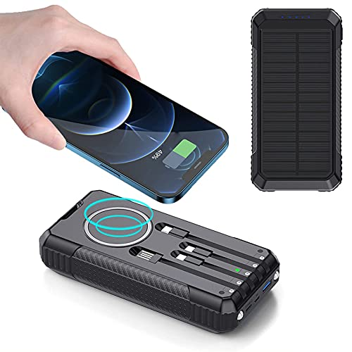 Cargador Solar 30000Mah, Power Bank Solar 15W Bateria Externa Inalámbrica con PD 18W Tipo-C Y 40W USB Carga Rápida Batería Externa con Linterna LED para iPhone Samsung iPad Y Más