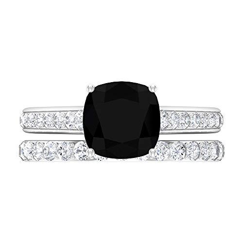 Anillo de diamante negro creado en laboratorio de 3,40 CT, D-VSSI Moissanite, anillo de media eternidad, anillo de compromiso catedral, 14K White Gold, Lab Created Black Diamond, Size:US 67