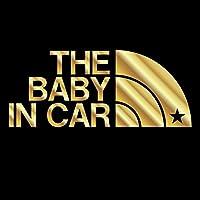 THE BABY IN CAR 星柄(ベビーインカ―)ステッカー パロディ シール 赤ちゃんを乗せています(12色から選べます) (ゴールド)
