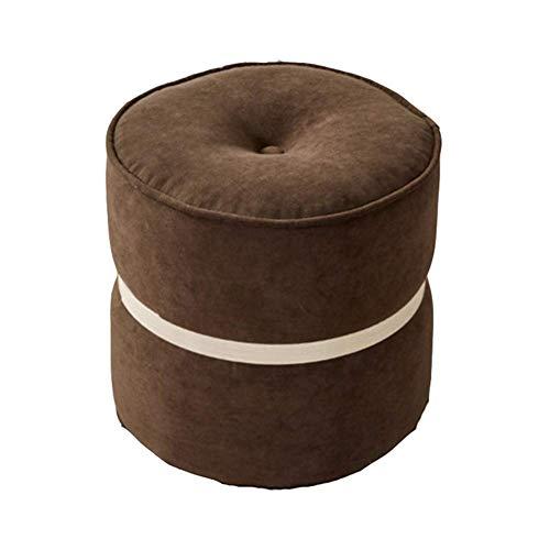 YLCJ kruk Macarons in Scandinavische stijl, kleine kruk, rond, schoenen, creatieve bank, zitkruk, gemaakt van stof (kleur: rood, oranje, maat: 34 x 32 cm) 34 * 32cm Chocolade