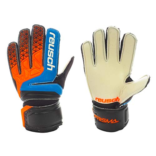 Reusch Prisma SD Easy Fit Junior Torwarthandschuhe Hartplatz Kinder schwarz-orange Electric Blue/Shocking orange, 7