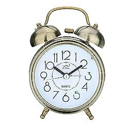 IPOUJ Classic Double Bell Alarm Clock Quartz Movement Bedside Night Analog Clock Alarm Clocks Antique Brass