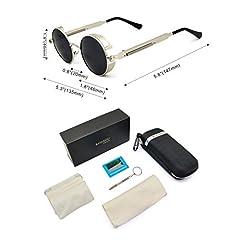 Ronsou Steampunk Style Round Vintage Polarized Sunglasses Retro Eyewear UV400 Protection Matel Frame Black Size: One Size #3