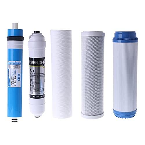 XIAOSHI Filtros de Agua Conjunto de Filtro de Filtro de ósmosis inversa de Cinco etapas de 10 Pulgadas Cartucho del Elemento del purificador de Agua 50 galones 5pcs / Set Filtro de Agua Grifo