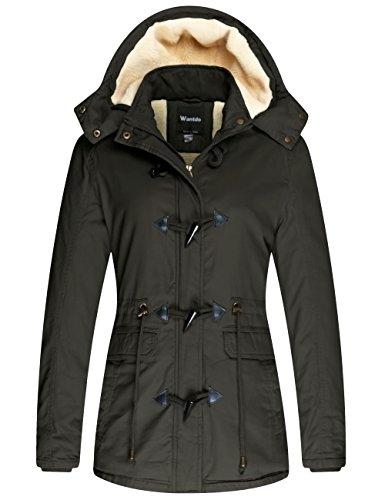 Wantdo Giubbotto Spesso Antivento Coat Hood Warm Windproof Overcoat Work Winter Cappotto Medio Lungo Donna Verde Militare M