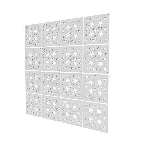 Separadores Ambientes Paneles de 16 Piezas - 117.5x117.5cm - Blanco Paneles De Separacion De Ambientes Patrón De Flores Separadores Oficina Biombo para Estantes De Armario Empotrado