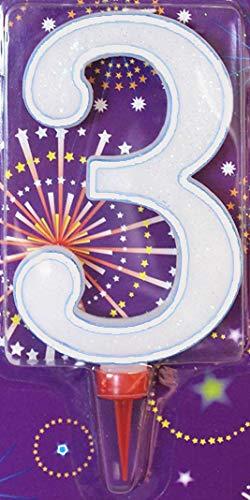 Clossy London Jumbo - Vela de cumpleaños (tamaño grande, 15,24 cm), color azul y rosa, Liso/Blanco, 3