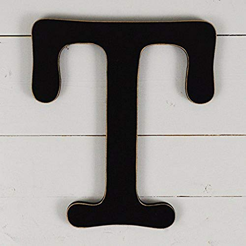 UNFINISHEDWOODCO 11.5' Typewriter Wall Decor Wood Letter, Black T-11.5 Inches