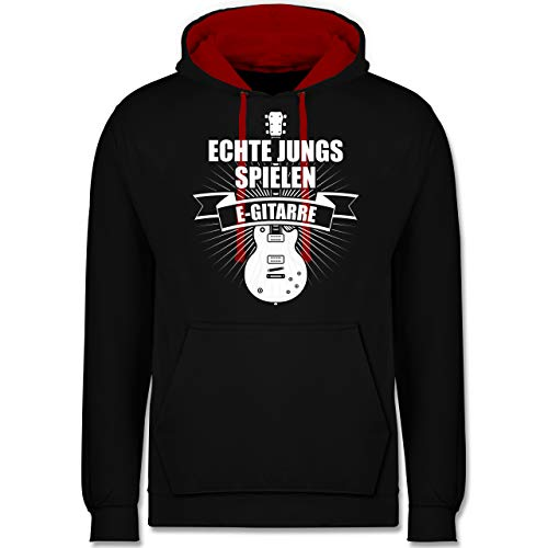 Shirtracer Instrumente - Echte Jungs Spielen E-Gitarre - XS - Schwarz/Rot - Spruch - JH003 - Hoodie zweifarbig und Kapuzenpullover für Herren und Damen