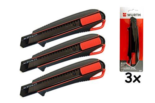 Würth 3x 2K Cutter-Messer mit Schieber incl. 3 Klingen