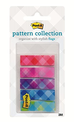 Postit Color Mixing Flags Gingham Pattern Collection 1/2 in x 17 in 100 Flag/OnTheGo Dispenser 683PLAID1