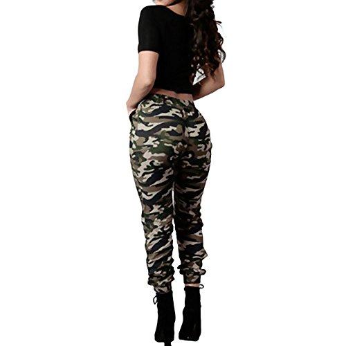 Topgrowth Pantaloni Mimetici Donna A Vita Alta Militare Casuale Sciolto Pantaloni Elastico Traspirante Trousers (Green, L)