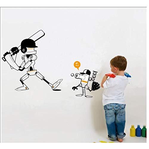 AnnQing Robots spelen honkbal ontwerp stijl/verwijderbare waterdichte Vinyl Cartoon sport muur Sticker kwekerij jongens slaapkamer Decor