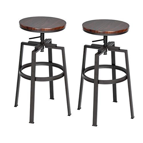conjunto de 2 Retro sujetador taburetes acabado en nogal Industrial estilo ajustable giratorio de metal Contador altura taburetes de bar