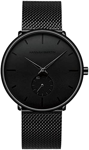 QHG Relojes para Hombre Relojes de Pulsera Ultra Delgada Negros para Hombres Moda Vestido Impermeable Banda de Acero Inoxidable (Color : Full Black)