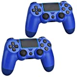 2 Pack Wireless Controllers for PS4, Wireless Remotes Control, YU33 Joystick Gamepad for Ps4 Controller with Double Shock and Charging Cables (Blue)