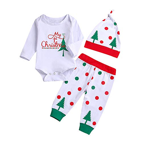 Fossen My First Christmas Disfraz Navidad Bebe niño niña Ropa de Conjunto Monos + Pantalones + Sombrero (0-6...