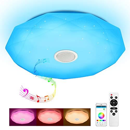 JDONG Deckenleuchte mit Bluetooth Lautsprecher Fernbedienung und APP-Steuerung 24W Farbwechsel, Sternen, dimmbar, Warmweiss- Kaltweiss, 2800-6500 Kelvin, RGB Umgebungslicht X5132