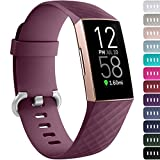 Ouwegaga Compatible for Fitbit Charge 4 Bands for Men Women,for Fitbit Charge 3 Bands Fitness Straps Large Burgundy