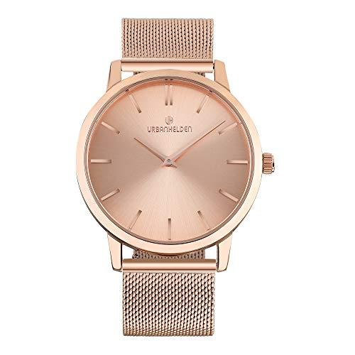 URBANHELDEN Armbanduhr Shine mit Mesharmband - Edelstahl Saphirglas Schweizer Quarzwerk 40 mm - Universal Damen u. Herren Uhr Metall Rosegold