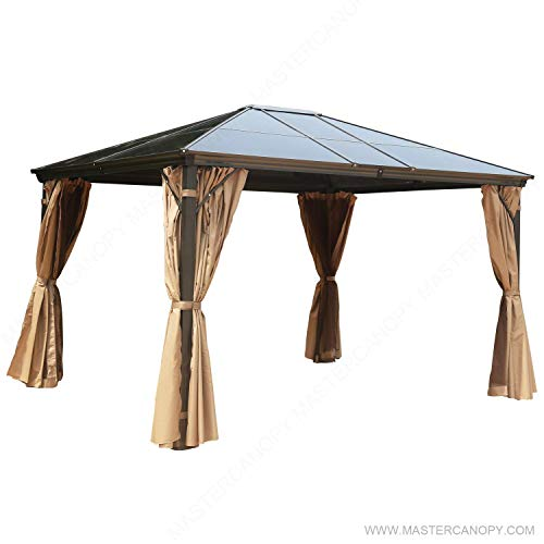 MasterCanopy Patio Polycarbonate Gazebo Canopy Hardtop Gazebo with Brown Mosquito Netting Screen...