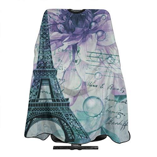 Purple Floral Vintage Paris Tour Eiffel Tablier de coiffure anti-statique imperméable pour homme et femme adulte 140 x 168 cm