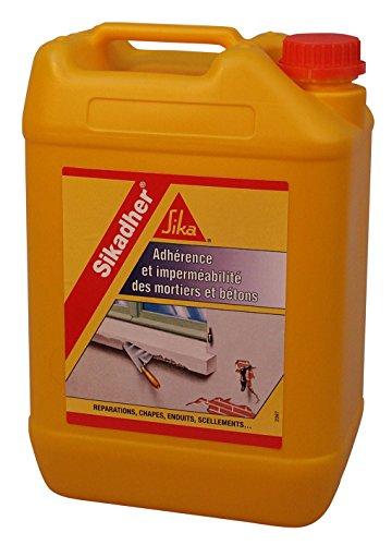 Sikadher, Additif dadhérence et dimperméabilité pour mortiers et bétons, 5L, Blanc