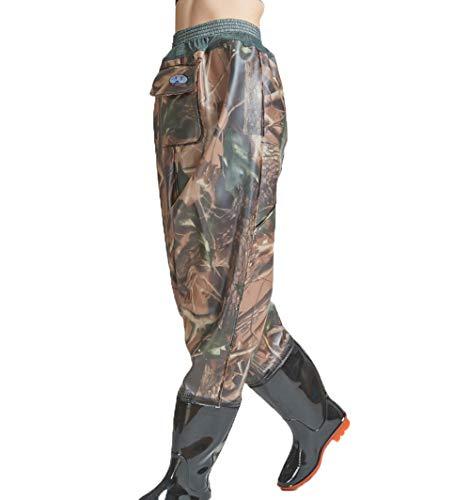 Vadeadores de Pesca Ligero Impermeable Pantalones Ropa para Hombres Mujeres con Botas Transpirable Cómodo Bib Pantalones Pesca Equipo Esencial,Camouflage,42