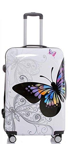 Reise Koffer Trolley mit Polycarbonat ABS Hartschale und Motiv BB (4: 115 Liter - Gr. XL, Butterfly)