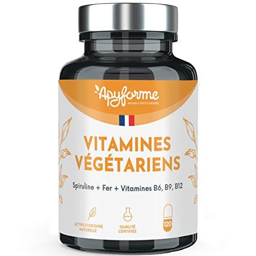 Apyforme - Vitamines pour végétariens - Compléments alimentaire végétariens : Fer, spiruline, vitamines B6, B9, B12 - Vitamines contre la carence en fer - 120 gélules - Made in France