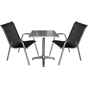Multistore 2002 3tlg. Campingmöbel Bistrotisch/Stehtisch 60x60xH70/110cm, Tischplatte Schleifoptik + 2X Gartenstuhl…