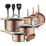 NutriChef PTFE/PFOA/PFOS 14-Piece Nonstick Cookware Set, w/Saucepan, Frying, Cooking Pots, Dutch Oven Pot, Lids, Utensil, Free Heat Resistant Lacquer Kitchen Ware Pots Pan