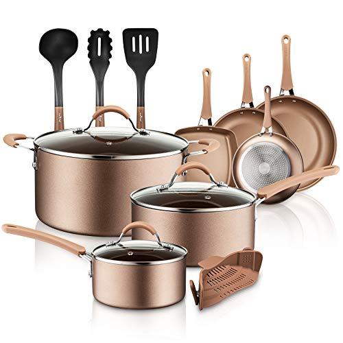 NutriChef 14-Piece Nonstick Cookware PTFE/PFOA/PFOS-Free Heat Resistant Lacquer Kitchen Ware Set w/Saucepan, Frying Pans, Cooking, <a href=