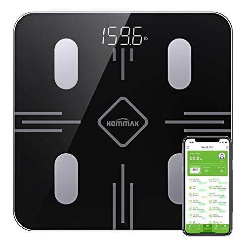 Hommak Körperfettwaage, Bluetooth Personenwaage mit App, Smart Digitale Waage für Körperfett, BMI, Gewicht, Muskelmasse, Wasser, Protein, Skelettmuskel, Knochengewicht, (Schwarz)