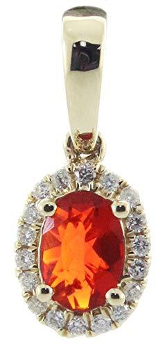 Gin & Grace 14K oro amarillo Natural Mexicana ópalo de fuego y diamante (I1, I2) colgante para las mujeres